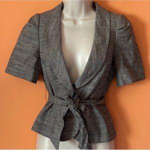 Tie Waist Short Sleeve Linen Blazer